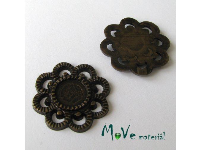 Akrylový korálek - květ, 2ks, antik - hnědý