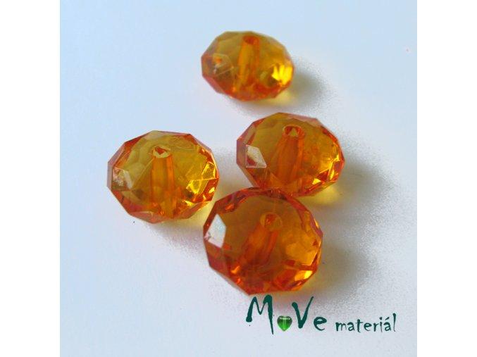 Korálek plast disk 12x7mm, 4ks, oranžový