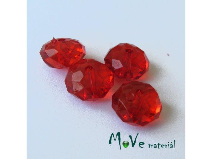 Korálek plast disk 12x7mm, 4ks, červený