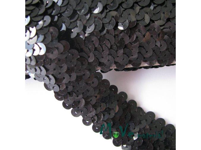 Prýmek šíře 30mm elastický s flitry, 0,5m, černý