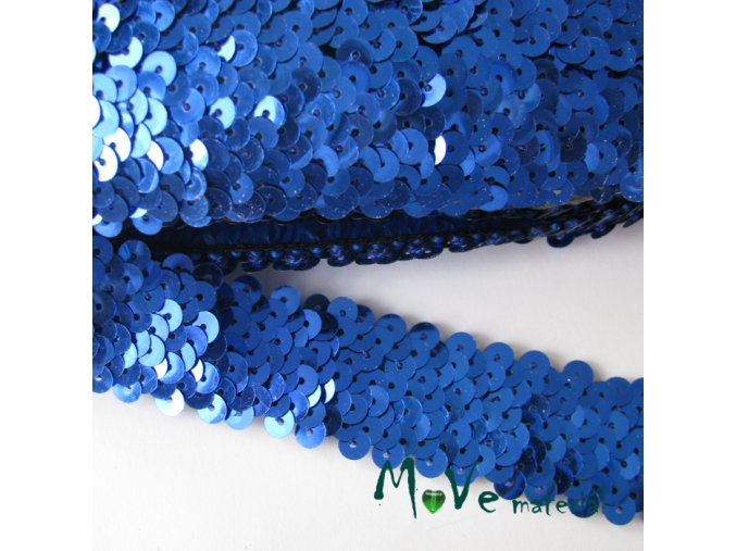 Prýmek šíře 30mm elastický s flitry, 0,5m, modrý