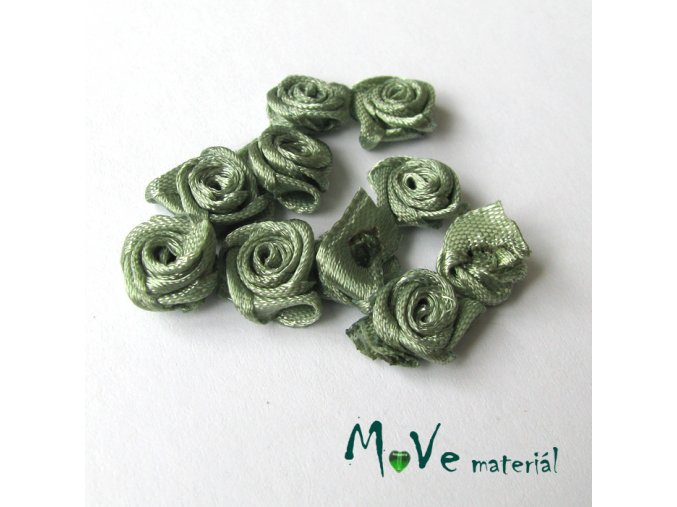 Růžička saténová šedozelená 12mm, 10kusy