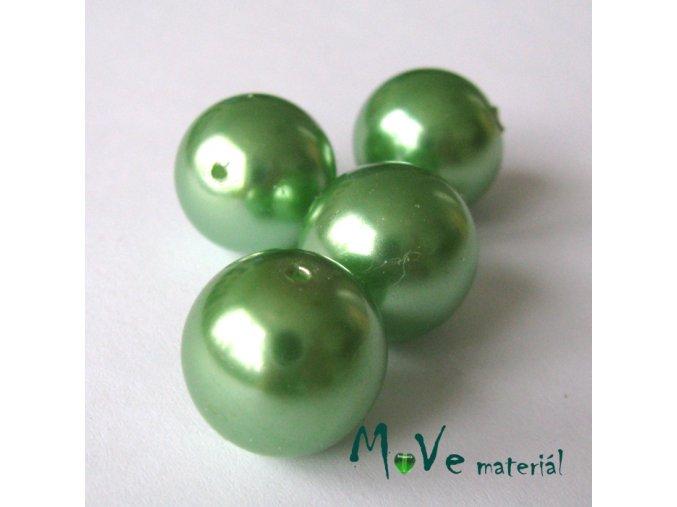 České voskové perle zelené 14mm, 4ks