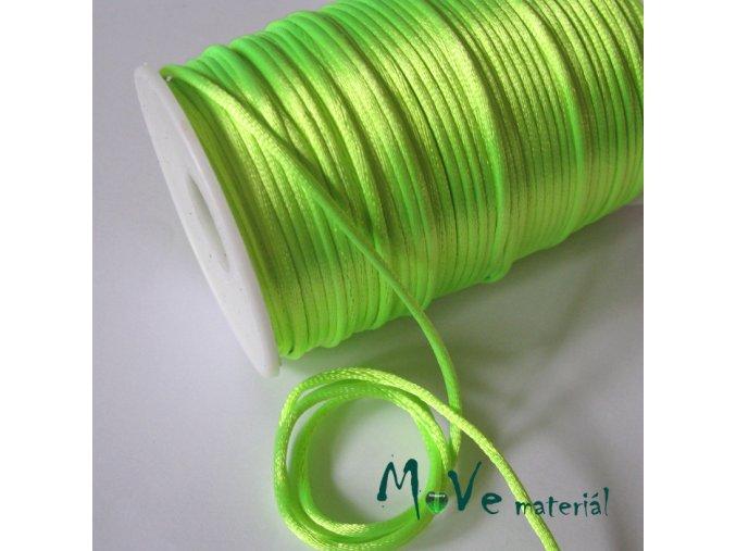 Šňůra 2mm saténová sv. zelená neonová,1m