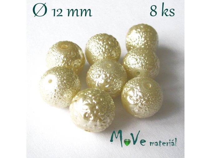 "Voskové perle ""Zigana"" 12mm, 8ks, sv. béžové"