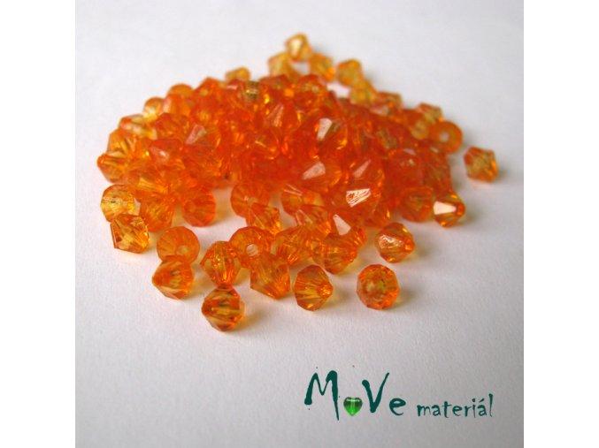 Korálek plast - sluníčko 5mm, cca 120ks, oranžový