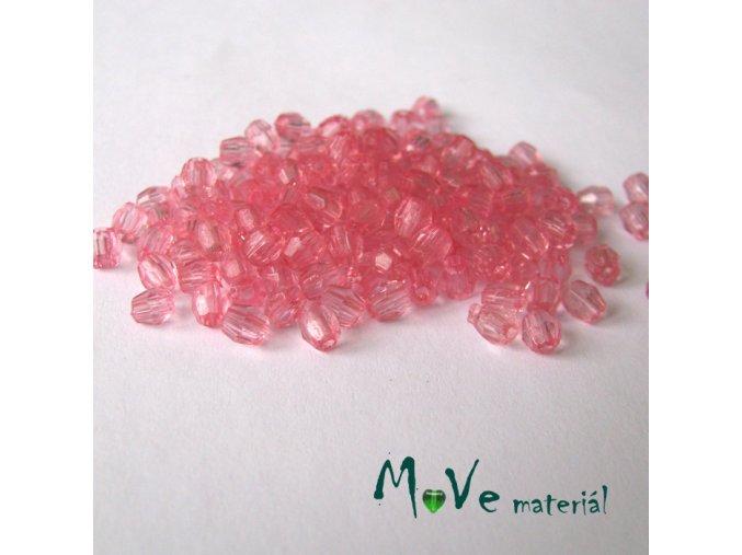 Korálek plast - broušený 4mm, cca 150ks, růžový