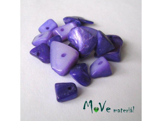 Perleťové zlomky vrtané, 10-11g, fialové