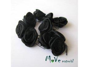Růžička saténová černá 20mm, 10kusů
