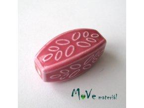 Korálek porcelánový 31x14x14mm, 1ks, růžový