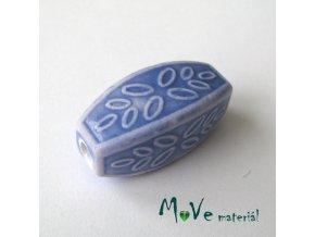 Korálek porcelánový 31x14x14mm, 1ks, modrý