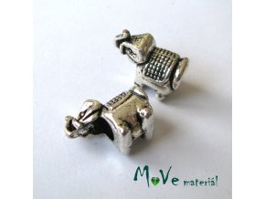 Korálek kovový slon, 1 kus, starostříbro
