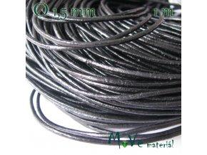 Kulatá přírodní kůže 1,5mm/1m, černá
