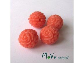 Resinový korálek s květy, 4ks, lososový