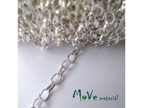 Řetízek kovový - 3,8 x 6,9mm, délka 1m, stříbrný