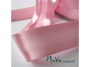Šikmý proužek saténový šíře 30mm zažehlený růžový