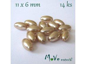 České voskové perle olivka 14ks, zlatobéžová