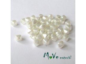 České voskové perle lampion 7x4mm, 44ks, bílý
