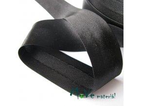 Šikmý proužek saténový šíře 30mm zažehlený černý