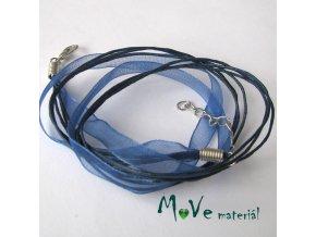 Šňůrka bavlněná se stuhou délka 45cm, modrá