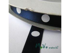 Stuha saténová puntík 10mm 1m, tm. modrá