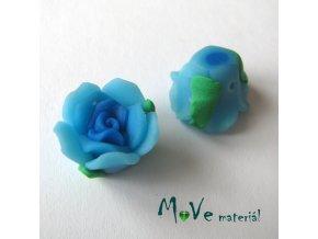 Polymerový korálek KVĚT, 1ks, tyrkysový