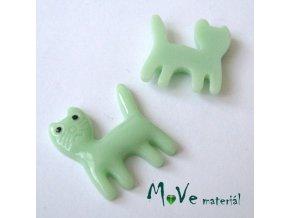Kabošon KOČKA - resin - 1ks, zelená