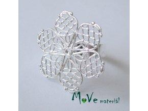 Prstýnek filigrán-květ 18mm, stříbrný 1ks