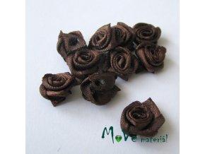 Růžička saténová hnědá 12mm, 10kusy