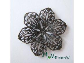 Filigrán květ 42,5x5mm, 1ks, staroměď