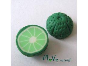 Fimo korálky 22x11mm, citrus, zelený