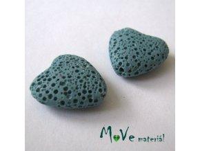 Lávový korálek srdce 20x21x7mm, 1ks, tyrkysové