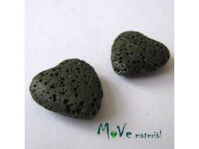 Lávový korálek srdce 20x21x7mm, 1ks, tm. zelené