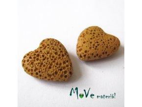 Lávový korálek srdce 20x21x7mm, 1ks, okrové