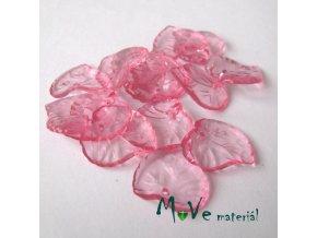 Akrylové transparentní lístečky, 15ks, růžové
