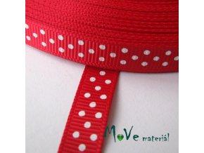 Stuha rypsová puntík 10mm 1m, červená