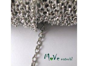 Řetízek kovový šíře 5x4mm, délka 1m, platina