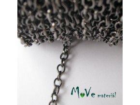 Řetízek kovový šíře 5x4mm, délka 1m, antracit