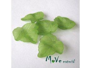 Akrylové matné lístečky, 5ks, zelené