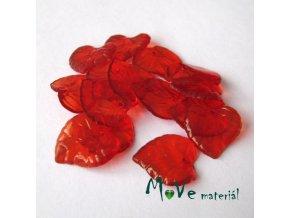 Akrylové transparentní lístečky, 15ks, červené