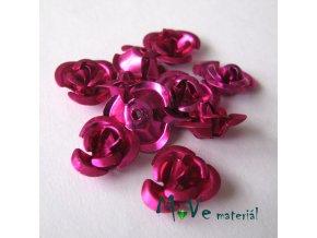 Korálek růžička 12mm, 10ks, tm. růžová