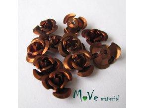 Korálek růžička 12mm, 10ks, kávová