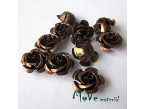 Korálek růžička 17mm, 10ks, hnědá