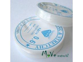 Vlasec silikon elastický 0,6mm návin 10m průhledný
