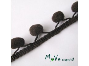 Prýmek šíře 20mm bambulky 10mm, 1m, hnědý