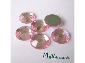 Plastový kabošon 12x3,6mm/6ks, sv. růžový