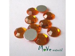 Plastový kabošon 10x3mm/10ks, sv.oranžový