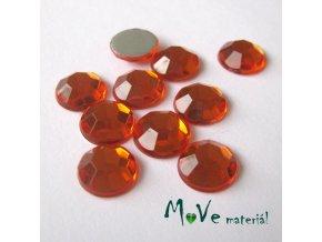 Plastový kabošon 10x3mm/10ks, tm.oranžový