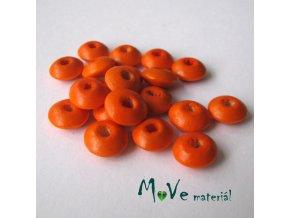 Dřevěný korálek disk 9x4mm, 20ks, oranžová