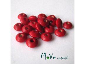 Dřevěný korálek disk 9x4mm, 20ks, červená